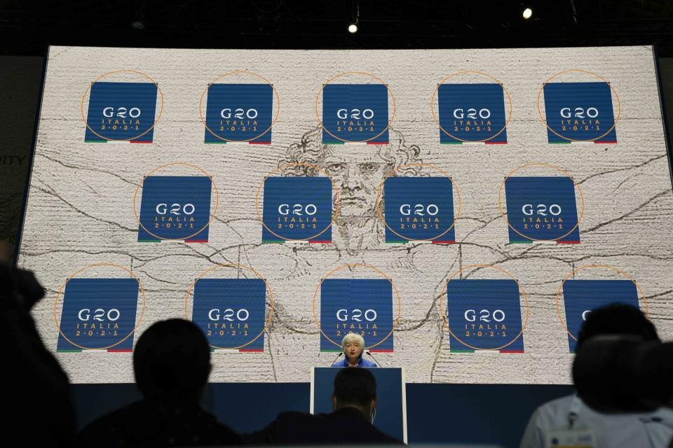 United States Secretary of the Treasury Janet Yellen speaks during a press conference at a G20 Economy and Finance ministers and Central bank governors' meeting in Venice, Italy, Sunday, July 11, 2021. (AP Photo/Luca Bruno)
