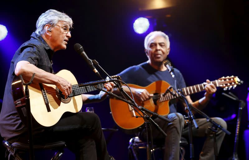 """FILE PHOTO: Brazilian musicians Veloso and Gil perform their """"Two Friends, a Century of Music"""" show during the 49th Montreux Jazz Festival in Montreux"""