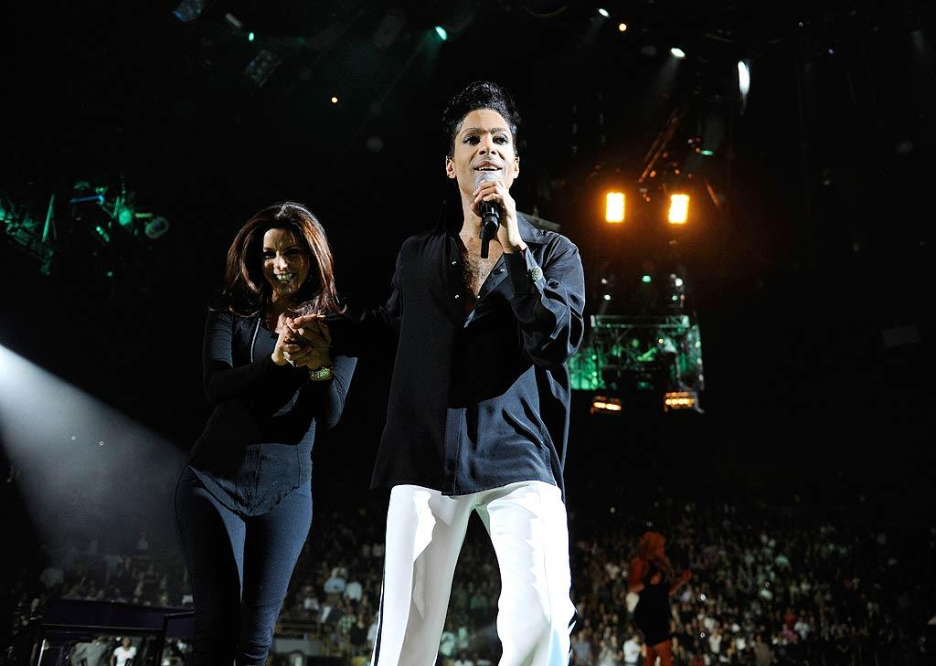 """Prince also pulled several celebs up onstage with him during the show, including Eva Longoria, who proved she could get her groove on, unlike Kim Kardashian, who froze when the """"Purple Rain"""" singer gave her a chance to shake her booty back in February at a concert in NYC! Kevin Mazur/<a href=""""http://www.wireimage.com"""" target=""""new"""">WireImage.com</a> - April 14, 2011"""