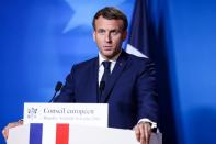 Macron presser after EU summit at Europa building in Brussels
