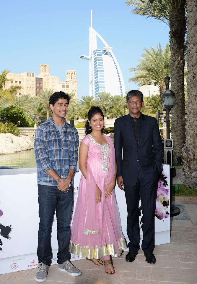 "DUBAI, UNITED ARAB EMIRATES - DECEMBER 09:  Actors Suraj Sharma, Shravanthi Sainath and Adil Hussain attend the ""Life of PI"" photocall during day one of the 9th Annual Dubai International Film Festival held at the Madinat Jumeriah Complex on December 9, 2012 in Dubai, United Arab Emirates.  (Photo by Andrew H. Walker/Getty Images for DIFF)"
