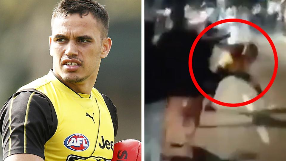 Footage has emerged which appears to show Richmond's Sydney Stack involved in a fight on the streets of Perth while he was supposed to be quarantining at home. Pictures: Getty Images/Channel 7