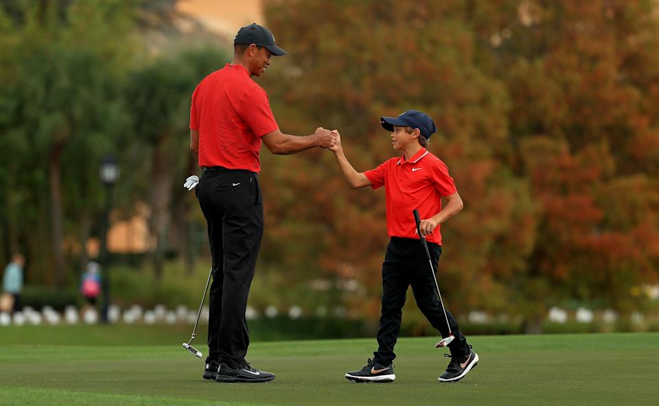 Tiger Woods and his son Charlie Woods at the PNC Championship in Orlando, December 20, 2020.