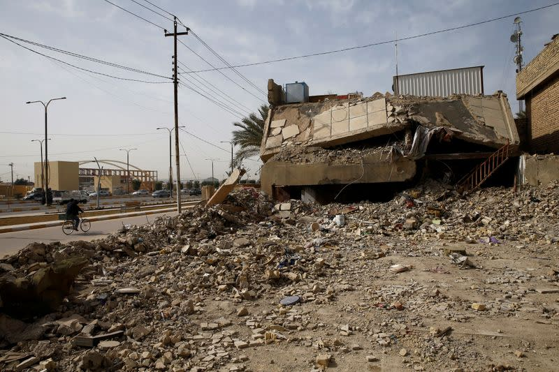 A building destroyed during past fighting with Islamic State militants is seen in Falluja