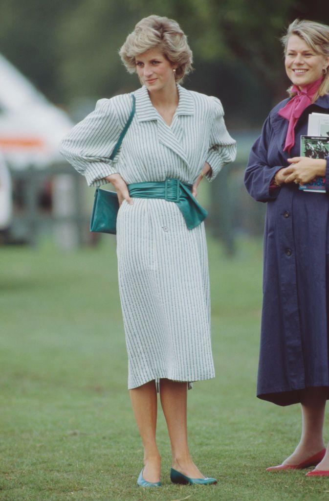 <p>Stripes have apparently always been standard royal attire for polo matches. Princess Diana wore this green and white shirt dress for a charity polo match in Windsor. </p>