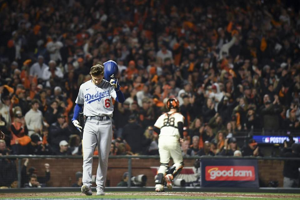 The Dodgers' Trea Turner reacts after striking out against the Giants at Oracle Park on Oct. 9, 2021.