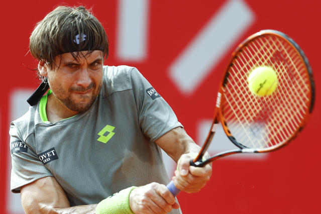 Spain's David Ferrer Spain returns the ball to Spain's Nicolas Almagro at a Buenos Aires' Copa Claro Open semifinal tennis match in Buenos Aires, Argentina, Saturday, Feb. 15, 2014. (AP Photo/Victor R. Caivano)