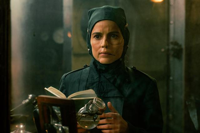 <p>Elena Anaya plays the character who is a longtime nemesis of Wonder Woman in DC Comics; in the film, the deformed, deranged doctor, otherwise known as Isabel Maru, serves alongside Ludendorff, concocting his killer weapons. (Photo: Warner Bros.) </p>