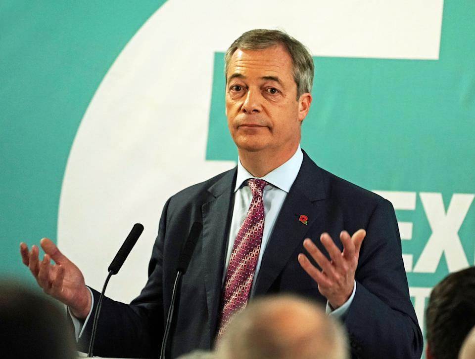 Brexit Party leader Nigel Farage speaking at the Best Western Grand Hotel in Hartlepool. (Photo by Owen Humphreys/PA Images via Getty Images)