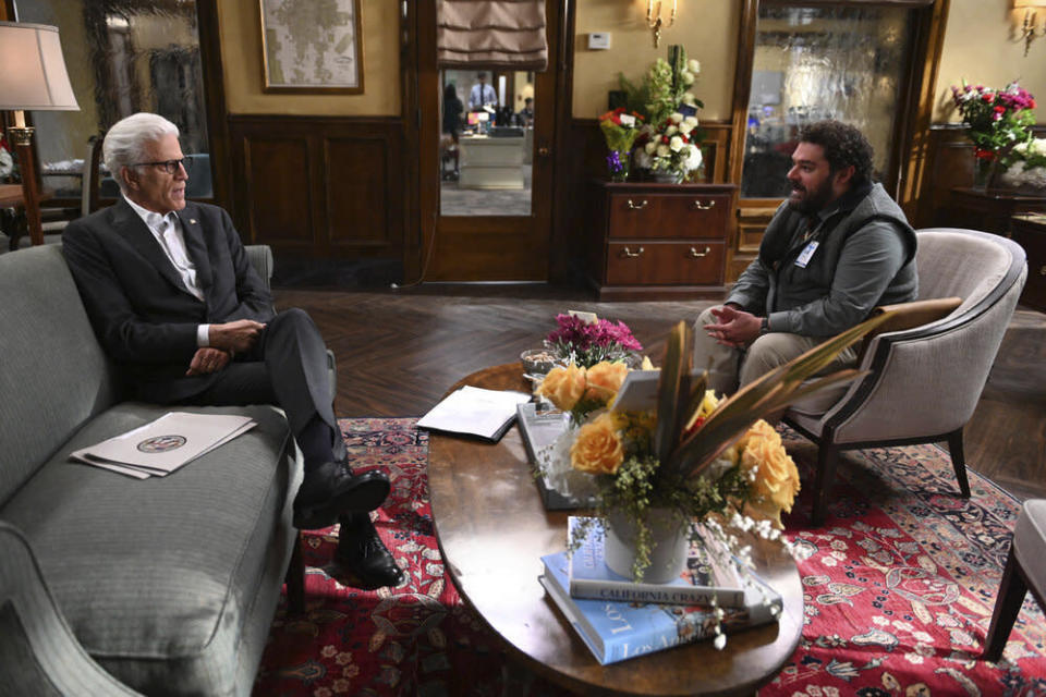 """This image released by NBC shows Ted Danson as Mayor Neil Bremer, left, and Bobby Moynihan as Jayden Kwapis in a scene from the new comedy """"Mr. Mayor,"""" premiering on Thursday. (Mitchell Haddad/NBC via AP)"""