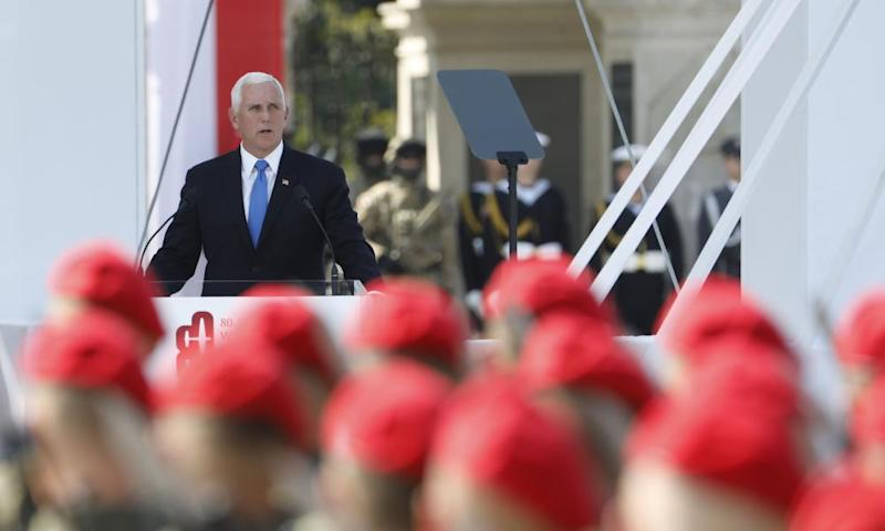 Mike Pence gives a speech at Pilsudski Square in Warsaw, Poland, on 1 September.