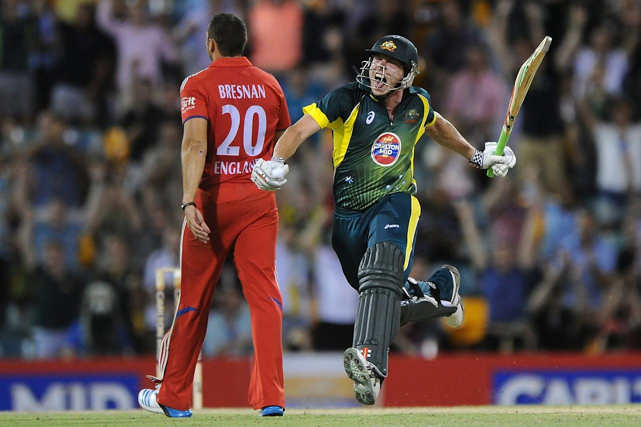 BRISBANE, AUSTRALIA - JANUARY 17:  James Faulkner of Australia celebrates victory during the second game of the One Day International Series between Australia and England at The Gabba on January 17, 2014 in Brisbane, Australia.  (Photo by Matt Roberts/Getty Images)