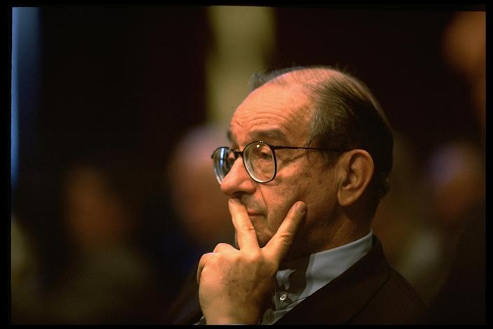Federal Reserve Bd. chmn. Alan Greenspan testifying before Sen. Banking Comm. re US loan bailout of ailing Mexican economy. He was the Fed Chairman in 1995. (Photo by Terry Ashe/The LIFE Images Collection via Getty Images/Getty Images)