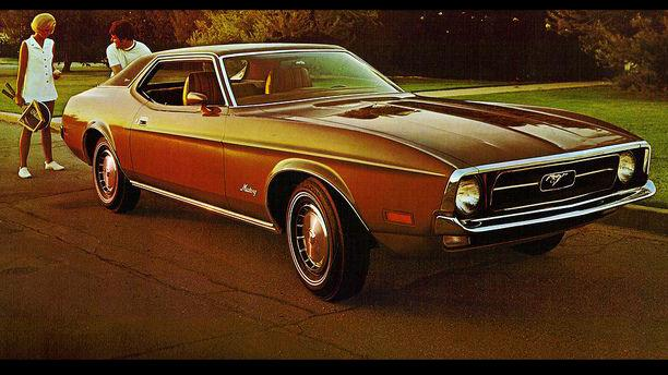 <p>Ah, but the crimes did not start with the Mustang II. No, no. This is the 1973 Mustang Grande, which ballooned to absurd 1970s proportions. You could land a Huey on that hood. Ford would then proceed to over correct.</p>
