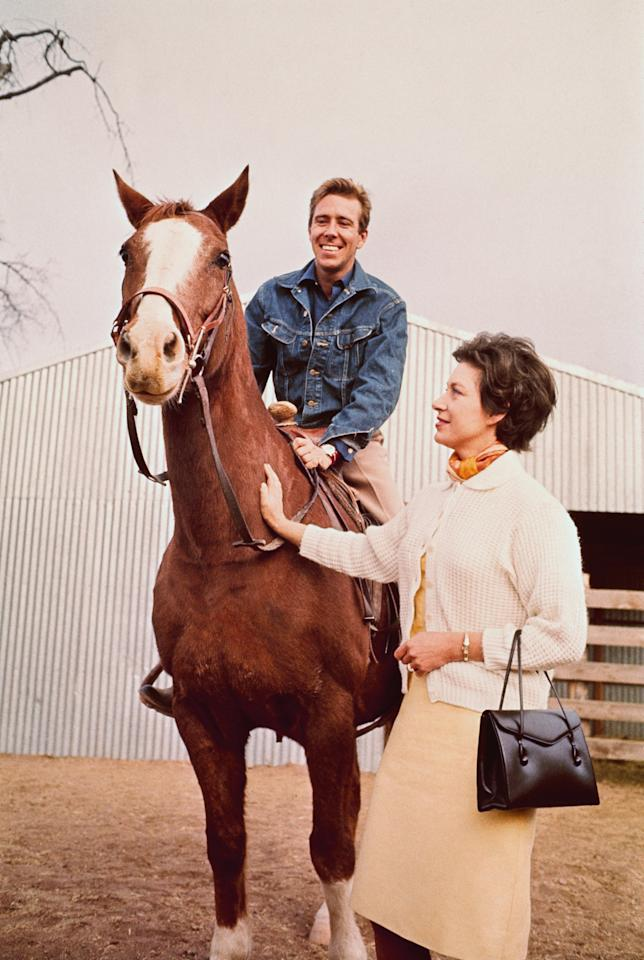 <p>Lord Snowden took a horse for a spin while visiting the ranch, which was owned by former US ambassador to Great Britain Lewis Douglas.</p>
