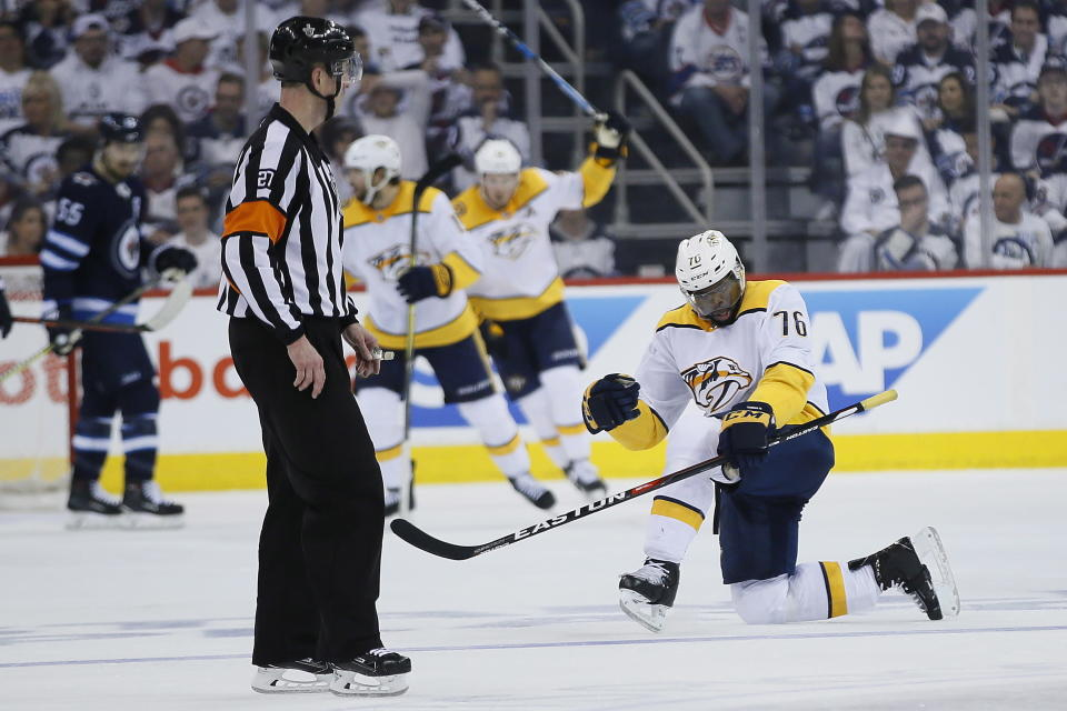 Nashville Predators' P.K. Subban (76) celebrates his goal against the Winnipeg Jets during the second period of Game 4 of an NHL hockey second-round playoff series in Winnipeg, Manitoba, Thursday, May 3, 2018. (John Woods/The Canadian Press via AP)