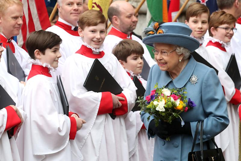 Queen Elizabeth II departs the Commonwealth Day Service 2020 at Westminster Abbey on March 9 in London. (Photo: Chris Jackson via Getty Images)