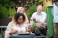 <p>Sheila and Clive watch on.</p>