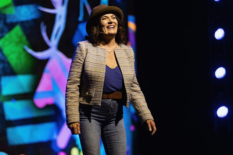 Mmental health advocate Margaret Trudeau speaks on stage during WE Day at Tacoma Dome on April 18, 2019 in Tacoma, Wash. (Photo: Mat Hayward via Getty Images)
