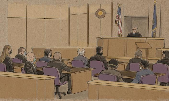A courtroom sketch from the hearing on Friday.