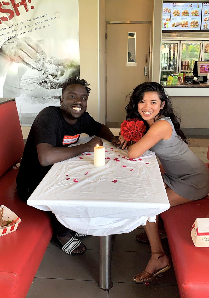 KFC romantic date: Emmanuel Kei (left) and Diane Del (right) enjoyed a three-course dinner date at KFC Torrensville in Adelaide.