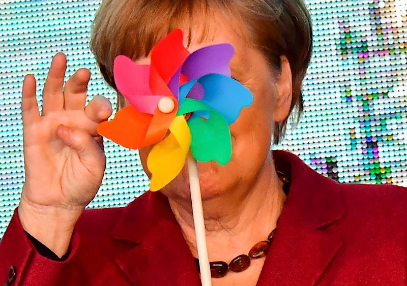 """Angela Merkel -- once dubbed the """"climate chancellor"""" -- is now seen by many as having dropped the ball on Germany's ambitious energy transition (AFP Photo/Tobias SCHWARZ)"""