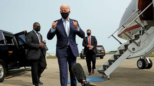 PHOTO: Democratic presidential nominee Joe Biden talks to reporters as he departs for travel to Florida from New Castle Airport in New Castle, Del., Sept. 15, 2020. (Leah Millis/Reuters)