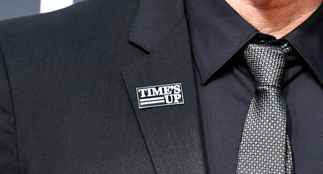 Several celebrities wore a Time's Up pin at the Golden Globes on Sunday. (Photo: Steve Granitz/WireImage)