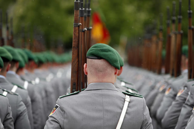 <p>A member of a guard bataillon marches during the military honours in the visit of the Defense Minister, Ursula von der Leyen with her Ukrainian counterpart (both not pictured), in the German Ministry of Defense, in Berlin, Germany, May 16, 2017. Both politicians met to deal with the present security policy development in the region and to strengthen their bilateral relations. Von der Leyen has been strongly criticised in the last weeks for her way she dealt with the controversy involving a German army officer who disguised himself as a refugee and planned a terrorist attack. (Photo: Felipe Trueba/EPA) </p>