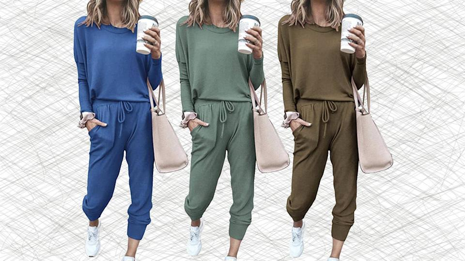 This matching sweatsuit is only $33 on Amazon, so get ready to get cozy (Photo: Amazon)