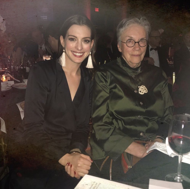 "<p>The actress presented author Annie Proulx, who wrote the book on which Hathaway's <em>Brokeback Mountain</em> was based, with the National Book Foundation's Medal for Distinguished Contribution to American Letters. ""Two Annie and a glass of wine,"" Hathaway shared. (Photo: <a href=""https://www.instagram.com/p/BbnxLhIlDNF/?taken-by=annehathaway"" rel=""nofollow noopener"" target=""_blank"" data-ylk=""slk:Anne Hathaway via Instagram"" class=""link rapid-noclick-resp"">Anne Hathaway via Instagram</a>) </p>"