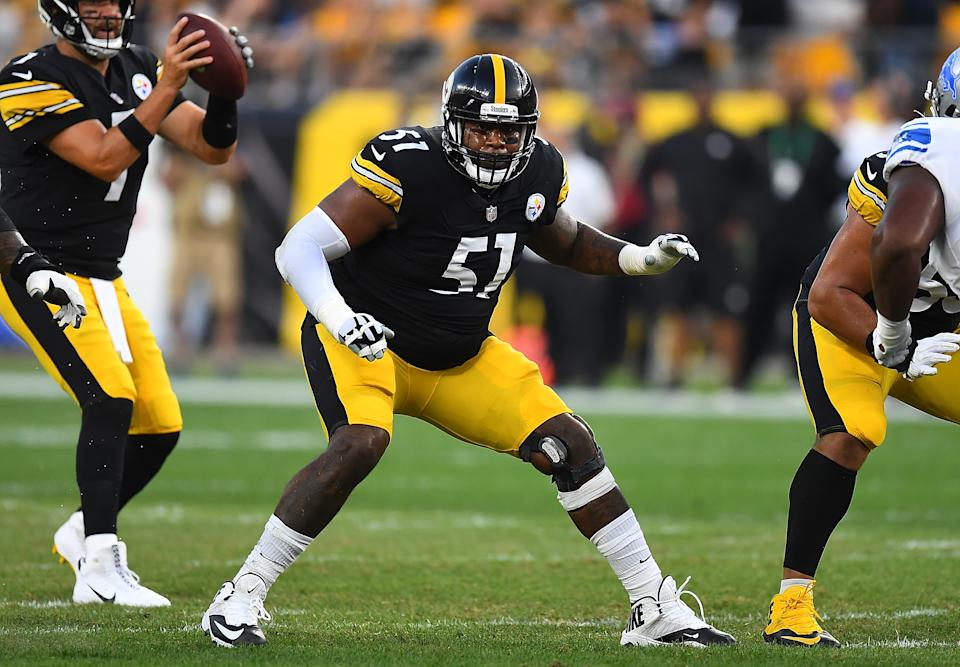 PITTSBURGH, PA - AUGUST 21:  Trai Turner #51 of the Pittsburgh Steelers in action during the game against the Detroit Lions at Heinz Field on August 21, 2021 in Pittsburgh, Pennsylvania. (Photo by Joe Sargent/Getty Images)