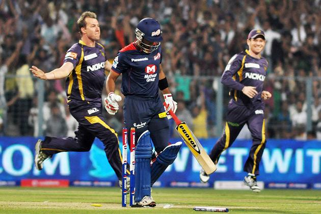 Delhi Daredevils opening batsman Unmukt Chand going back after getting out by the first ball of KKR bowler Brett Lee at the IPL match between KKR and DD at Eden Gardens in Kolkata on April 3, 2013. (Photo: IANS)