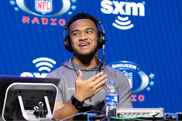 Alabama quarterback Tua Tagovailoa is keeping an even keel on his hip injury but understands that his future is somewhat out of his hands now. (Photo by Cindy Ord/Getty Images for SiriusXM )