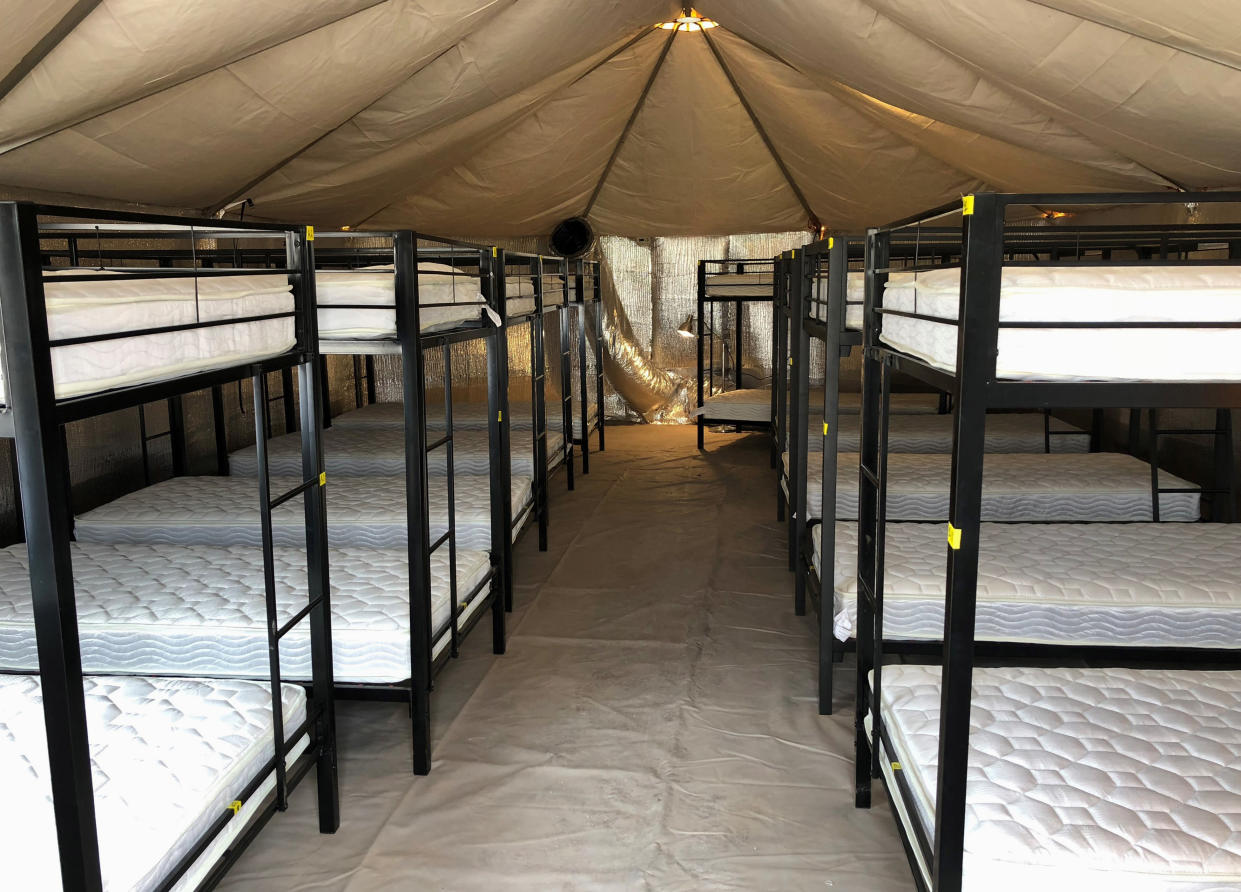 "<span class=""s1"">A shelter used to house unaccompanied children in Tornillo, Texas., shown in an undated photo. (Photo: HHS Administration for Children and Families via AP)</span>"