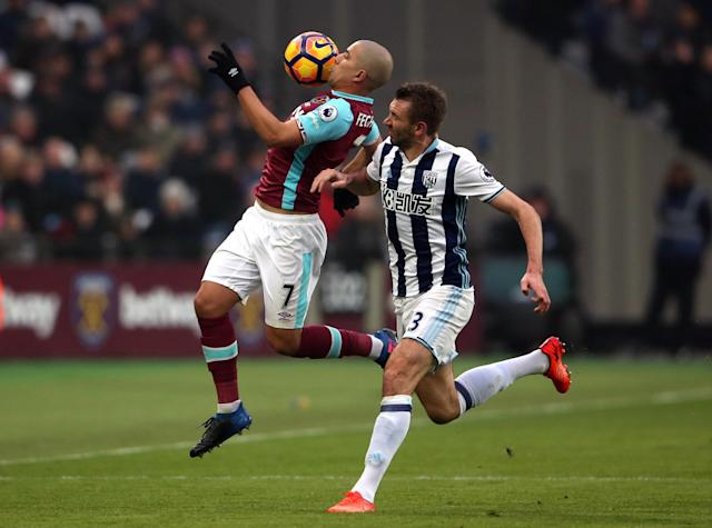 <p>West Ham United's Sofiane Feghouli (left) and West Bromwich Albion's Gareth McAuley battle for possession</p>