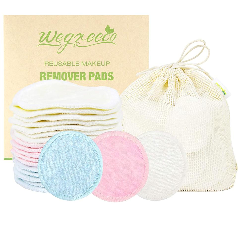 """<h2>Wegreeco Reusable Bamboo Make-Up Remover Pads</h2><br>These make-up remover pads are here to keep bathroom floors free from the never-ending piles of cotton round overflowing from trash cans around the world. For one Amazon reviewer, the ultra-soft bamboo fleece material is gentle on the skin, but tough enough to throw in the washer without damage: """"These cloths are super soft, and perfect for removing make-up, cleansing with micellar water, or applying toner. I like these better than washcloths because they are not abrasive at all (don't buy these if you were hoping for a little exfoliation). They are easily washable and nicely absorbent. I go through a lot of cotton squares in my skincare routine, and I wanted to be less wasteful. These are a great solution.""""<br><br><em>Shop <strong><a href=""""https://amzn.to/33RT5Qk"""" rel=""""nofollow noopener"""" target=""""_blank"""" data-ylk=""""slk:Wegreeco"""" class=""""link rapid-noclick-resp"""">Wegreeco</a></strong></em><br><br><br><strong>Wegreeco</strong> Bamboo Makeup Remover Pads, $, available at <a href=""""https://amzn.to/35XuTPs"""" rel=""""nofollow noopener"""" target=""""_blank"""" data-ylk=""""slk:Amazon"""" class=""""link rapid-noclick-resp"""">Amazon</a>"""