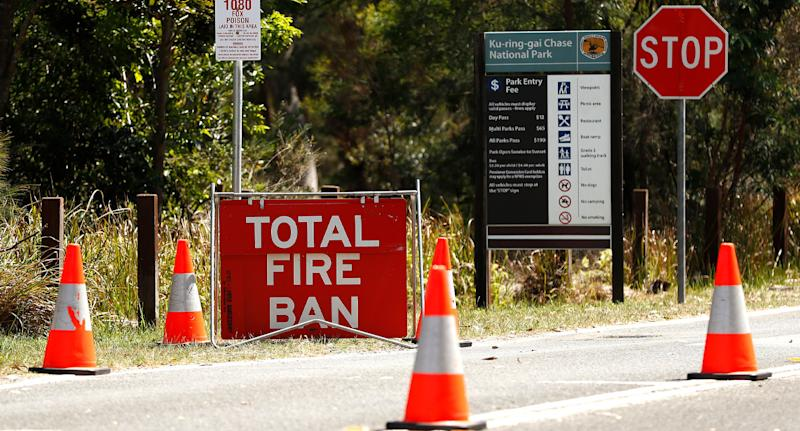 Total fire ban sign shown as catastrophic fire danger warning is declared.