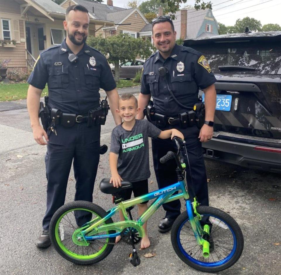 Mass. Police Officers Surprise Boy with New Bike After His Last 2 Were Stolen Weeks Apart