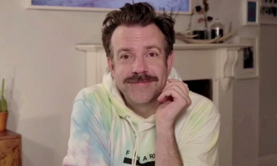 """UNSPECIFIED: 78th Annual GOLDEN GLOBE AWARDS -- Pictured in this screengrab released on February 28, (l-r) Jason Sudeikis, winner of Best Performance by an Actor in a Television Series – Musical or Comedy for """"Ted Lasso"""", speaks during the 78th Annual Golden Globe Awards broadcast on February 28, 2021. -- (Photo by NBC/NBCU Photo Bank via Getty Images)"""