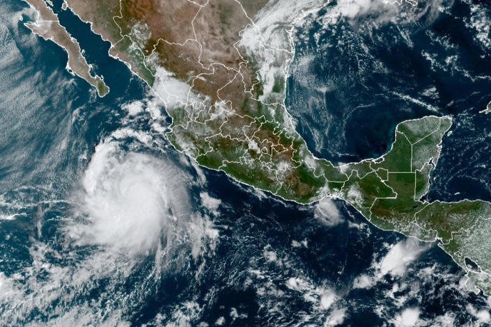 This satellite image provided by the National Oceanic and Atmospheric Administration (NOAA) shows a Tropical Storm Pamela in the Pacific as it approaches Mexico at 15:30Oz, or 11:30 am EST, Monday, Oct. 11, 2021. / Credit: (NOAA/NESDIS/STAR GOES via AP)
