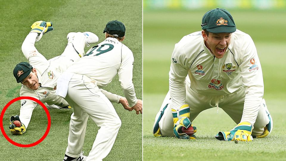 Tim Paine put forward a contender for 'catch of the summer' on day two at the MCG. Pic: ESPNCricinfo/Getty