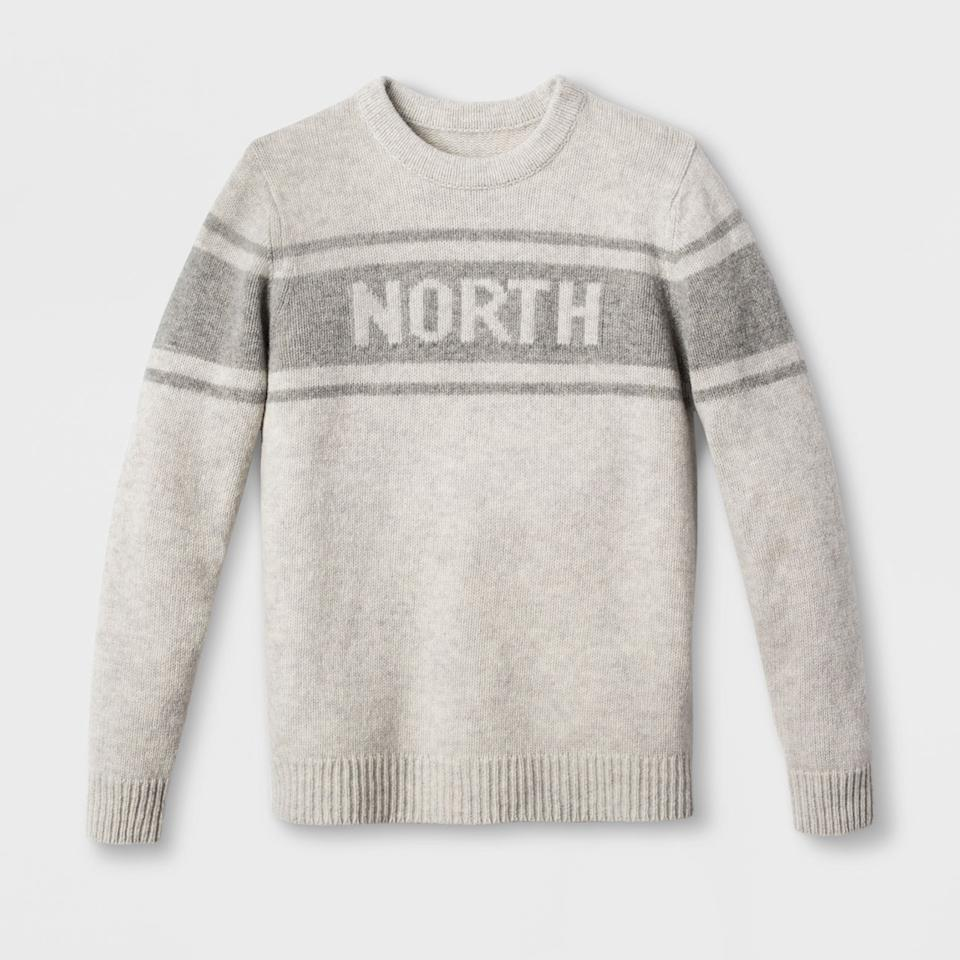 """<p>Askov Finlayson for Target Adult North Sweater in Heather Gray, $40, <a rel=""""nofollow"""" href=""""https://www.target.com/p/askov-finlayson-for-target-adult-north-sweater-heather-gray/-/A-53007887#lnk=newtab"""">target.com</a> (Photo: courtesy of Target) </p>"""
