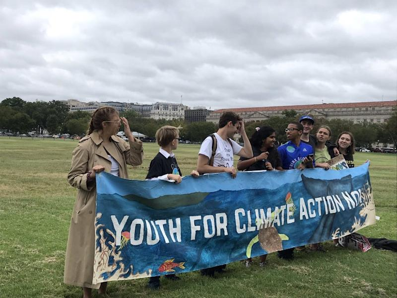 Youth climate activists prepare to march to the White House on Friday, Sept. 13, 2019. Swedish teenage activist Greta Thunberg also attended the protest.