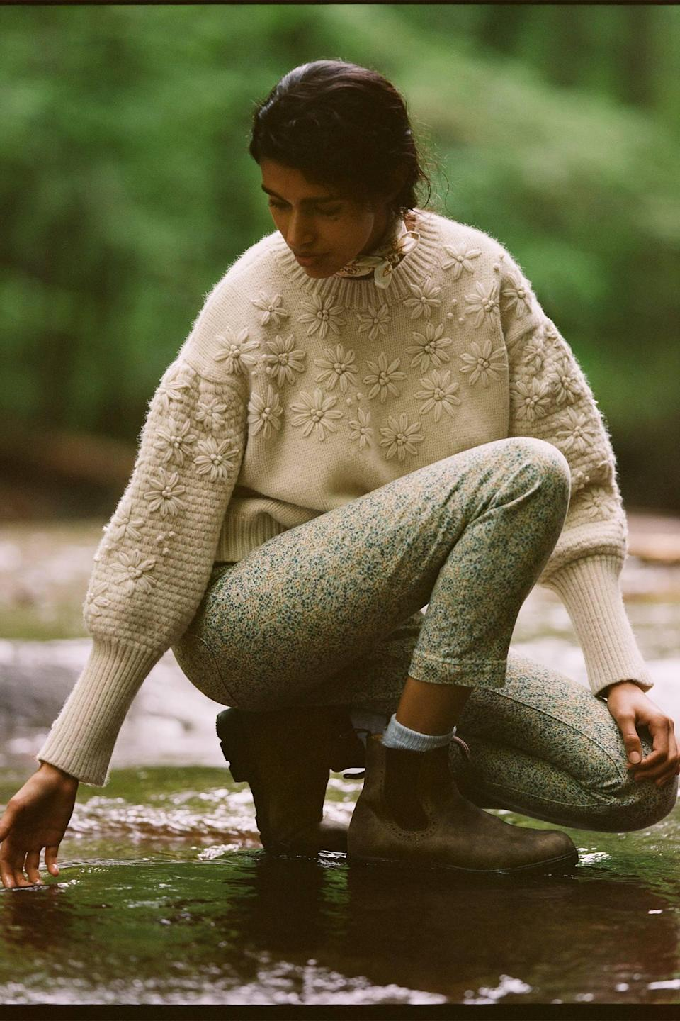 """<h2>Siobhan Textured Sweater</h2><br>If you're looking for the light, romantic feeling of lace embodied in a cozy knitted crewneck, look no further than this flora-and-fauna-dappled puff-sleeve confection.<br><br><br><strong>Raga</strong> Siobhan Textured Sweater, $, available at <a href=""""https://go.skimresources.com/?id=30283X879131&url=https%3A%2F%2Fwww.anthropologie.com%2Fshop%2Fsiobhan-textured-sweater%3Fcategory%3Dtops-sweaters%26color%3D011%26type%3DSTANDARD%26quantity%3D1"""" rel=""""nofollow noopener"""" target=""""_blank"""" data-ylk=""""slk:Anthropologie"""" class=""""link rapid-noclick-resp"""">Anthropologie</a>"""