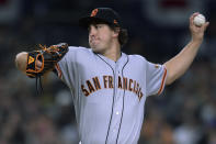 San Francisco Giants starting pitcher Derek Holland works against a San Diego Padres batter during the second inning of a baseball game Friday, March 29, 2019, in San Diego. (AP Photo/Orlando Ramirez)