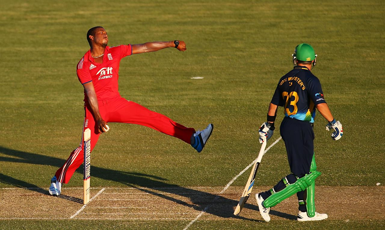 CANBERRA, AUSTRALIA - JANUARY 14: Chris Jordan of England bowls during the International tour match between the Prime Minister's XI and England at Manuka Oval on January 14, 2014 in Canberra, Australia.  (Photo by Mark Nolan/Getty Images)