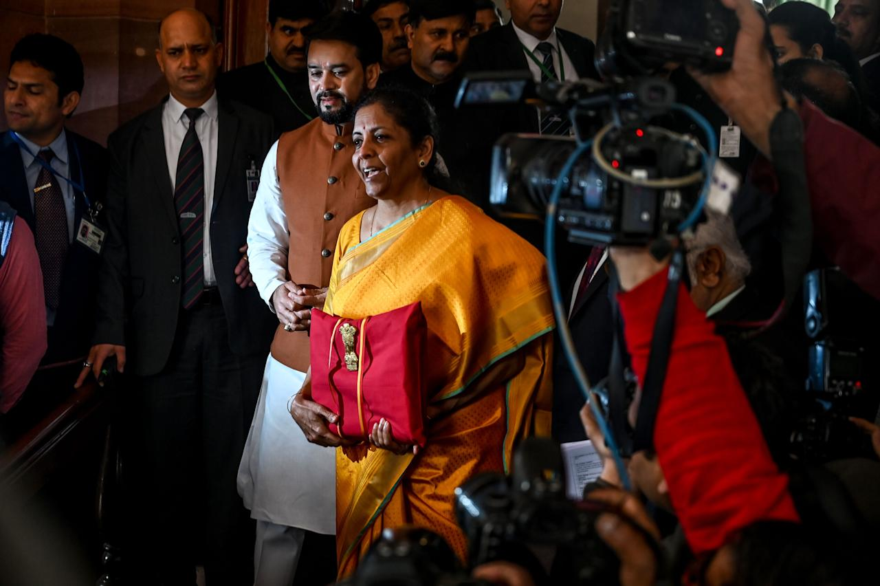 India Finance Minister Nirmala Sitharaman (C) arrives at the Parliament to the 2020-21 union Budget, in New Delhi on February 1, 2020. (Photo by Prakash SINGH / AFP) (Photo by PRAKASH SINGH/AFP via Getty Images)
