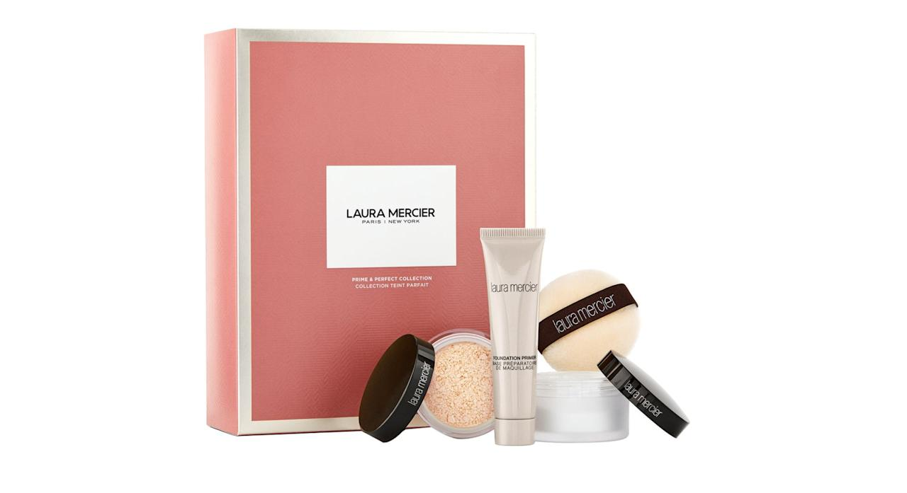 "Laura Mercier is world renowned for its super iconic and undetectable makeup. This set features some of the brand's most cult products, including a full-sized Brightening Powder, mini translucent Loose Setting Powder and mini Foundation Primer to create the perfect no-makeup makeup look. <a href=""https://fave.co/2ndnneS"">Shop no</a>w."
