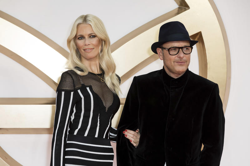 Model Claudia Schiffer and Film Director Husband Matthew Vaughn pose for photographers on arrival at the premiere of the film 'Kingsman The Golden Circle', in London, Monday, Sept. 18, 2017. (Photo by Grant Pollard/Invision/AP)